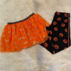 Girls Halloween tutu and leggings